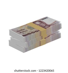 Thai money, Thai baht bills, business isolated on white background 3D illustration clipping path