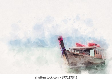 Thai style fishing boat in the sea with Aquarelle water paint color effect