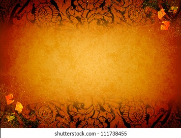 Thai tradition art paper with gold foil template