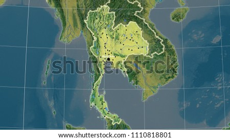 Thailand Topographic Map.Thailand Area Map Azimuthal Equidistant Projection Stock