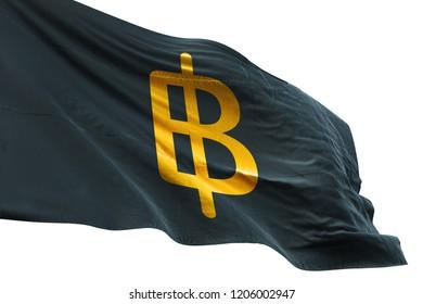 Thailand Baht Money Flag Symbol Isolated White Background. 3D Illustration Of Gold Thailand Baht Money Logo Written Flag. 3D Rendering.