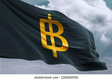 Thailand Baht Money Flag Symbol. 3D Illustration Of Gold Thailand Baht Money Logo Written Flag. 3D Rendering.