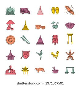 Thailand doodle icons set isolated on white background.   illustration with Thailand architecture, food and culture elements web icons in doodle style.