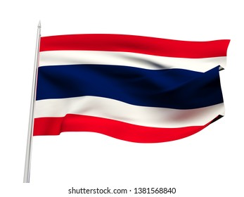 Thailand flag floating in the wind with a White sky background. 3D illustration.