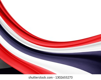 Thailand  flag of silk with copyspace for your text or images and white background-3D illustration