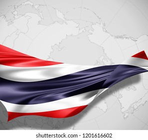 Thailand  flag of silk and world map background -3D illustration