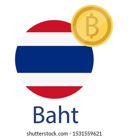 Thailand flag and Thai Baht golden coin. Baht currency exchange money icon