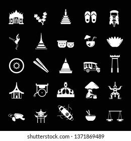 Thailand icons set isolated on black background.   illustration with Thailand architecture, food and culture elements web icons in white simple silhouette style.