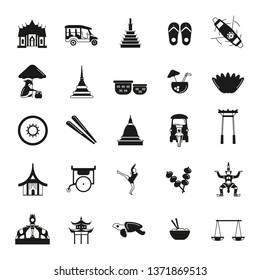 Thailand icons set isolated on white background.   illustration with Thailand architecture, food and culture elements web icons in black simple silhouette style.