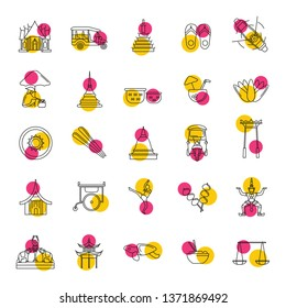 Thailand line icons set isolated on white background.   illustration with Thailand architecture, food and culture elements web icons in line style.