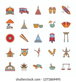 Thailand line icons set isolated on white background.   illustration with Thailand architecture, food and culture elements web icons in cartoon style.