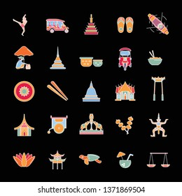 Thailand line icons set isolated on black background.   illustration with Thailand architecture, food and culture elements web icons in cartoon style.