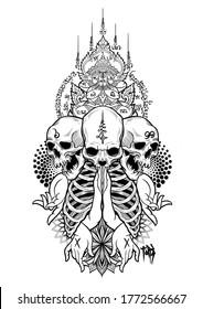 Thailand mandala tattoos style art