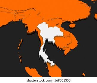 thailand map orange background 3D rendering