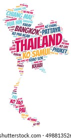 Thailand map silhouette word cloud with most popular travel destinations