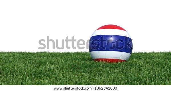 Thailand Thai flag soccer ball lying in grass, isolated on white background. 3D Rendering, Illustration.