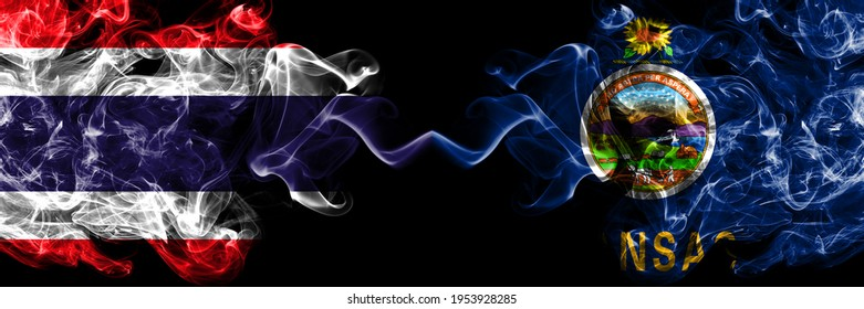 Thailand, Thai vs United States of America, America, US, USA, American, Kansas smoky mystic flags placed side by side. Thick colored silky abstract smokes flags.