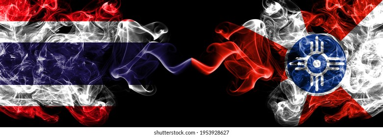 Thailand, Thai vs United States of America, America, US, USA, American, Wichita, Kansas smoky mystic flags placed side by side. Thick colored silky abstract smokes flags.