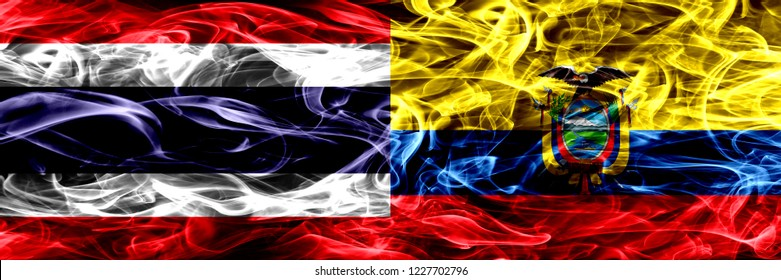 Thailand vs Ecuador, Ecuadorian smoke flags placed side by side. Thick abstract colored silky smoke flags