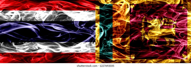 Thailand vs Sri Lanka, Sri Lankan smoke flags placed side by side. Thick abstract colored silky smoke flags