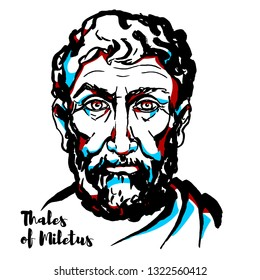 Thales of Miletus engraved portrait with ink contours. Pre-Socratic Greek philosopher, mathematician, and astronomer from Miletus in Asia Minor.