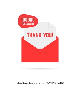 thank you for 100000 followers text in red letter. concept of 100k friends or subscribers and message from blogger. simple flat style trend modern logotype graphic design element isolated on white