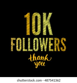 Thank you 10K followers card. Thanks design template for network friends and followers. Image for Social Networks. Web user celebrates subscribers and followers. Ten thousand followers