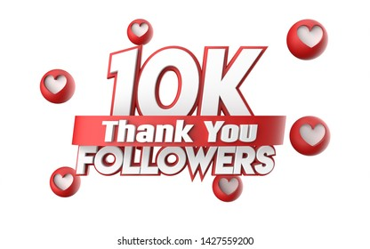 Thank you 10K followers, thanks followers congratulation card. 3d illustration for social networks, Social Media, red, pink, gold, silver, black, blue 3d hearts, follow like render.