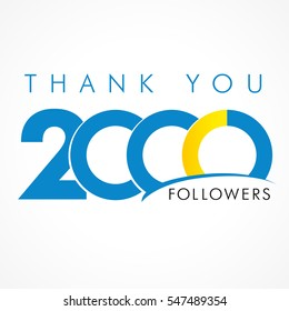 Thank you 2000 followers logo. The thanks card for network 2000 friends with inscription thank you and number sign
