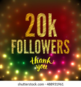 Thank you 20K followers card. Thanks design template for network friends and followers. Image for Social Networks. Web user celebrates subscribers and followers. Twenty thousand followers.