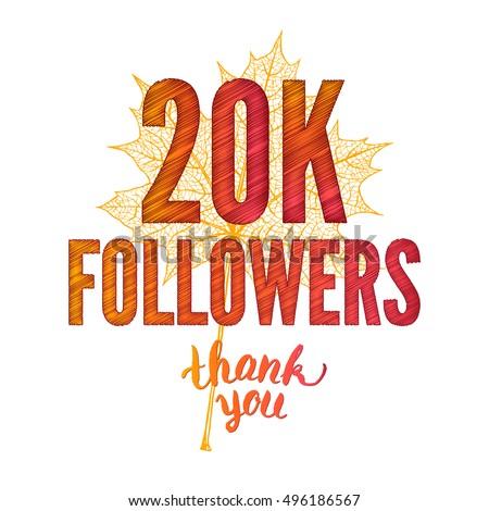 thank you 20 k followers card thanks stock illustration 496186567