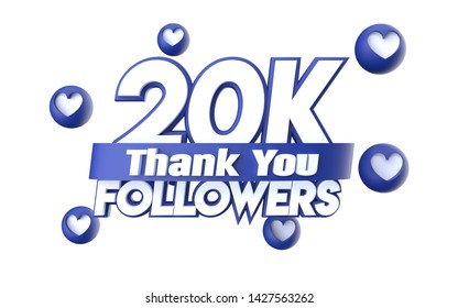 Thank you 20K followers, thanks followers congratulation card. 3d illustration for social networks, Social Media, red, pink, gold, silver, black, blue 3d hearts, follow like render.
