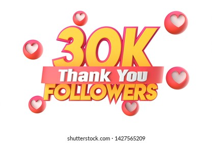 Thank you 30K followers, thanks followers congratulation card. 3d illustration for social networks, Social Media, red, pink, gold, silver, black, blue 3d hearts, follow like render.