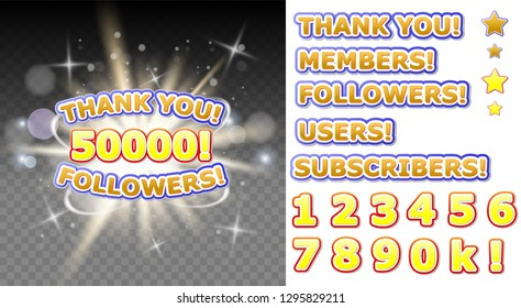 Thank you 50000 followers banner for social media networking, blogs. 50K followers thank you congratulation post.