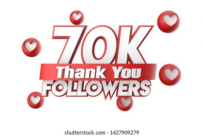 Thank you 70K followers, thanks followers congratulation card. 3d illustration for social networks, Social Media, red, pink, gold, silver, black, blue 3d hearts, follow like render.