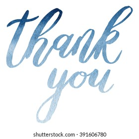 """Thank you"" blue watercolor handwritten lettering on white background"