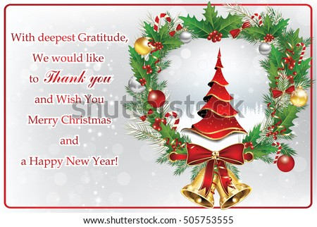 Thank You Business Greeting Card Christmas Stockillustration ...