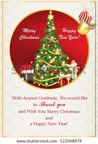 Thank You Business Greeting Card Christmas Stock Illustration