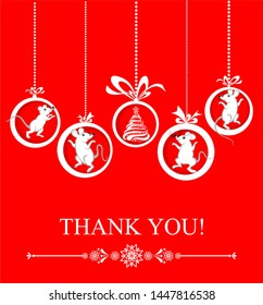 Thank you card. Celebration red background with Christmas balls, Christmas tree, white Rats and place for your text. Holiday background. illustration.