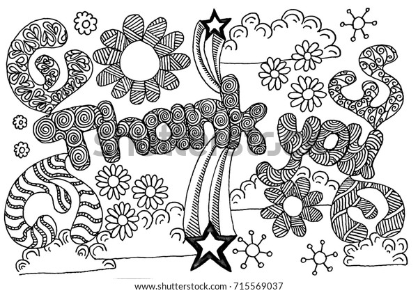 Thank You Coloring Page Adults Children Stockillustration ...