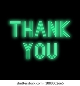 Thank You Colourful Glowing Green Neon Sign Text on Black Background, Synthwave Cyberpunk Square Graphic