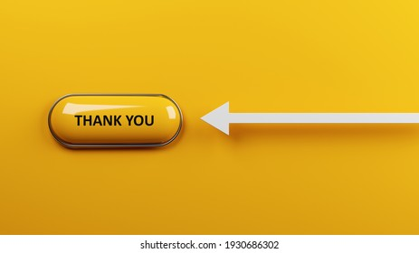 Thank you concept Yellow push button with thank you text on yellow-colored background Horizontal composition with copy space 3d rendering