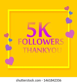 Thank you design template for social network and follower. 5K Followers