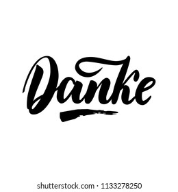 Thank you in German.  calligraphy. Danke poster or card. Grey Letters on the White Background. Hand-drawn lettering.