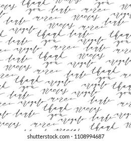 Thank you, gracias, danke, merci, arigato inscription design.Seamless pattern of modern handwritten brush calligraphy. Hand drawn lettering. Concept in many languages. Illustration.