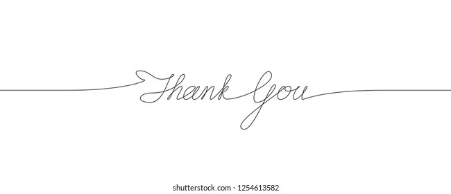 Thank You handwritten inscription. Hand drawn lettering. Calligraphy. One line drawing of phrase.