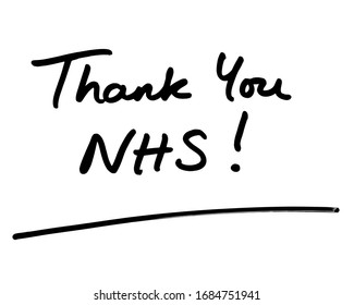 Thank You NHS! handwritten on a white background.