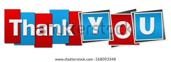 Thank You Red Blue Squares Stripes Horizontal
