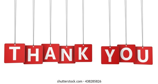 Thank you sign and word on red paper tags for thanks giving message 3d illustration isolated on white.