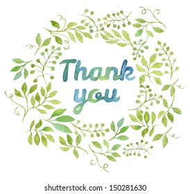 Thank you text in watercolor leaves wreath.